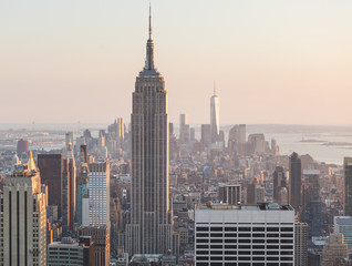Aerial View of Manhattan, New York, at Sunset