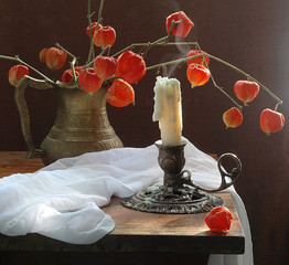 Candle and Physalis