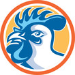 Chicken Rooster Head Side Circle Retro