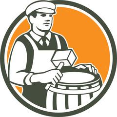 Cooper Barrel Maker Drum Retro Circle