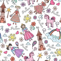 Vector pattern with symbols of little princess on white color