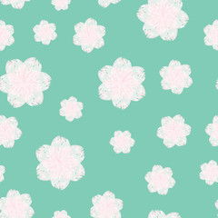 A seamless pattern of watercolor pink flower, light blue