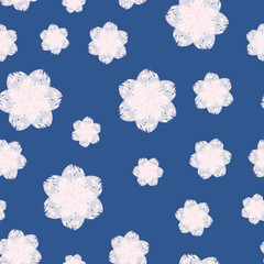A seamless pattern of watercolor hand drawn pink flower, blue