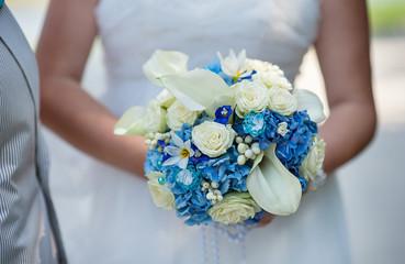 wedding bridal bouquet in blue style