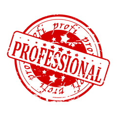 Round red stamp with the word professional - vector svg
