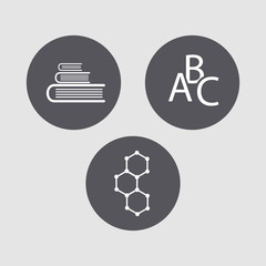 """Mini set of icons on the theme of """"science""""."""