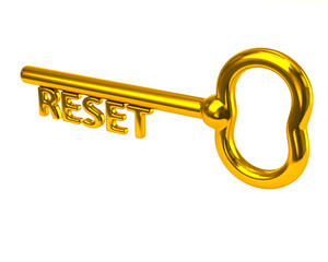 Golden key with word reset