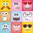 canvas print picture - Мультфильм лица с эмоциями