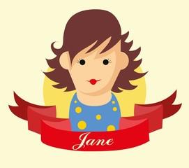 Набор милый значок аватара девушки