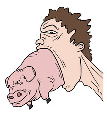 Pig and big mouth