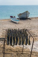Smoked fish at seaside