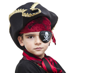 child pirate costume isolated on white
