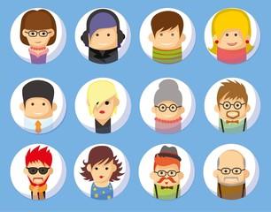 Набор плоских иконок аватары