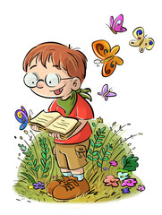 niño leyendo en el campo