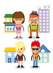 Набор милые значки характер и домов