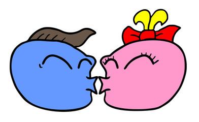 Funny charactesr kissing