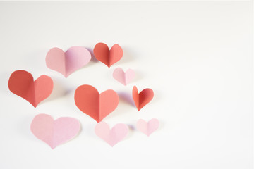 Paper heart shapes