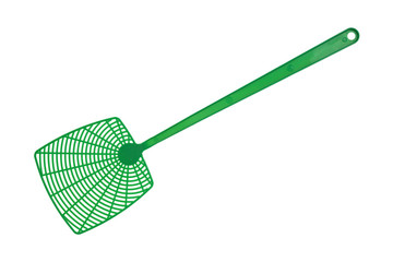 Green fly swatter isolated on a white background