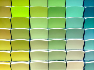 Green color swatches in a store