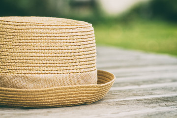 Hat on wooden table