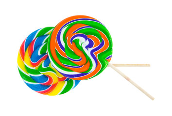 Two colorful lollypops on a white background