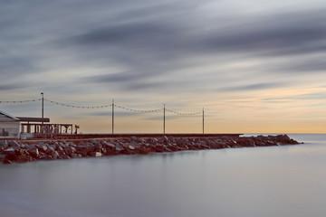Coastline of Barcelona, long exposure picture.