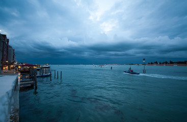 Stormy cloudy evening sky over sea at Venice