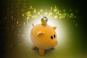 Business man put coin into piggy bank