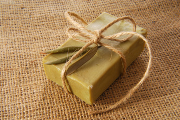 olive soap isolated on white