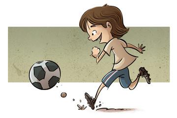 niño jugando a fútbol