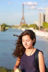Beautiful girl in Paris, France