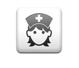 Boton cuadrado blanco 3D enfermera