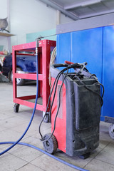 welding machine in the service station