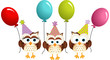 Birthday owls with ballons - 76024881