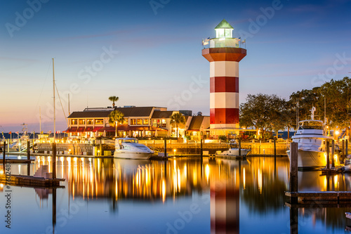 In de dag Kust Hilton Head, South Carolina, USA Lighthouse at Twilight