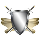 Ancient shield with scroll and two swords on white background. - 76025080