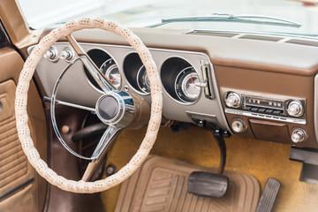 Vintage Car Interior With Retro Dashboard