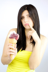 woman on a diet desperate about eating ice-cream