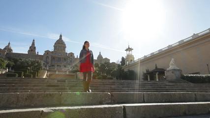 Barcelona tourist woman The Museu Nacional d'Art