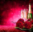 sparkling valentine's day with champagne and roses - 76025405