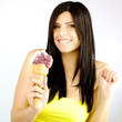 Happy woman with big ice-cream isolated