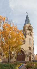 Moscow Lutheran Cathedral of Saints Peter and Paul in autumn