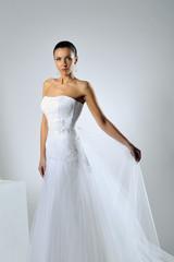 Gorgeous bride portrait posing in studio