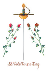 Rapier and roses isolated on a white background