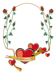 Round holiday frame with roses and hearts
