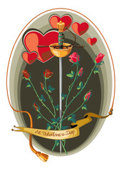 Valenine Day card with rapier and roses