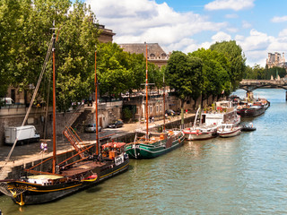 Houseboats on the Seine River Paris France