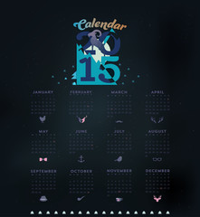 2015 calendar with symbol of the year