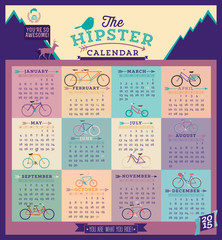 2015 hipster calendar with bicycles