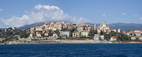 Imperia. Liguria. Panoramic view from the sea of ancient city